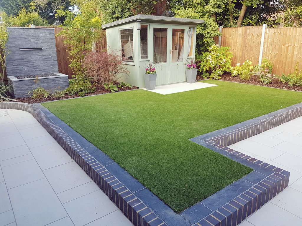 Artificial Lawn; Summer House; Waterblade Feature Controlled By Remote;