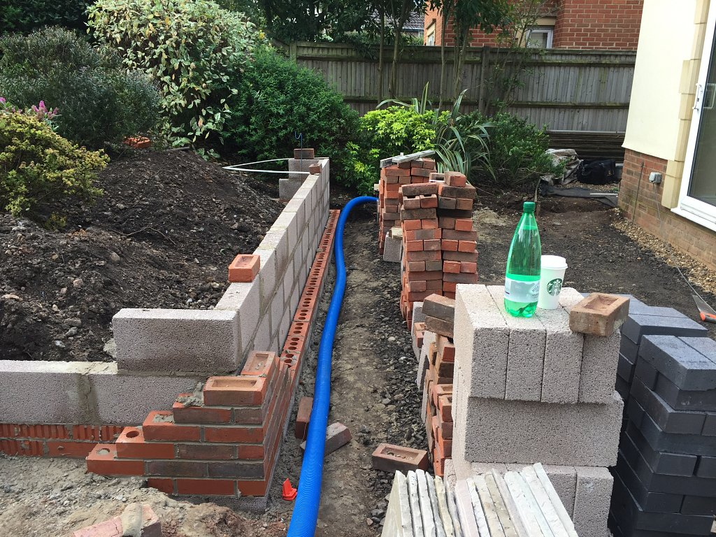 retaining wall mid construction
