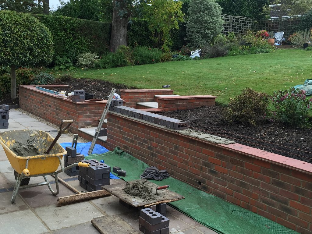 retaining wall nears completion