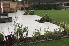 Stock gate, new lawn, turf, garden, hedge, patio, terrace, porcelain,