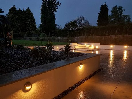 Sawn Grey Sandstone patio at night