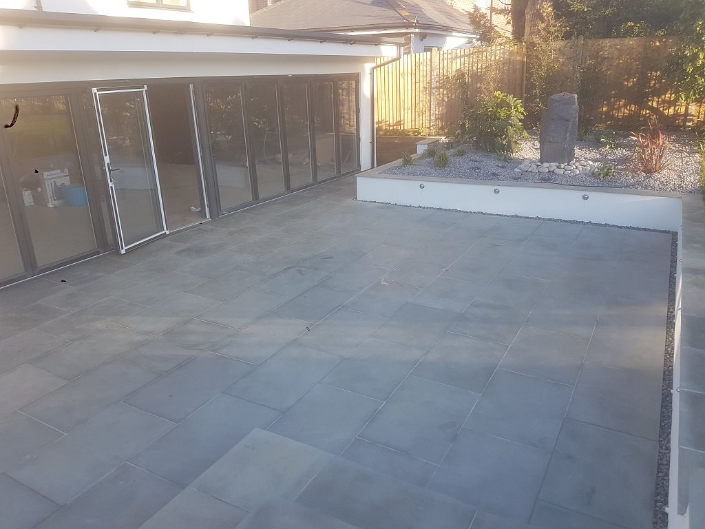 sawn grey sandstone patio completed view 3
