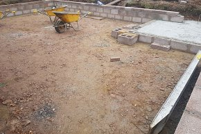 sawn grey sandstone patio groundworks