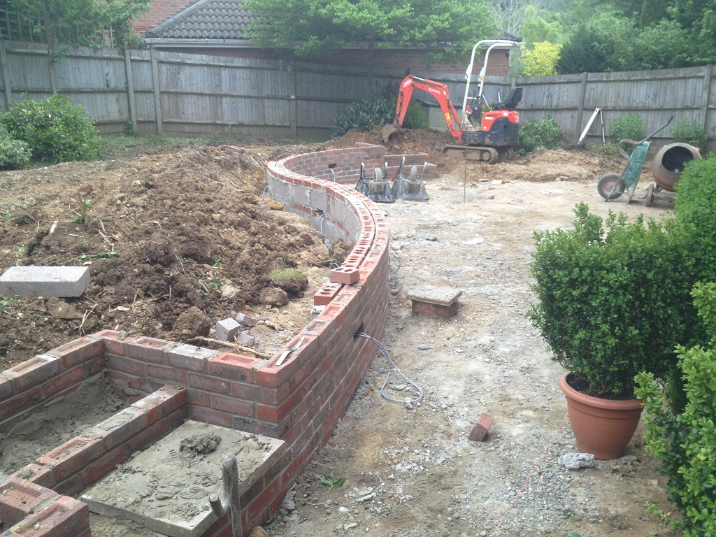 Landscaping and build of patio retaining wall