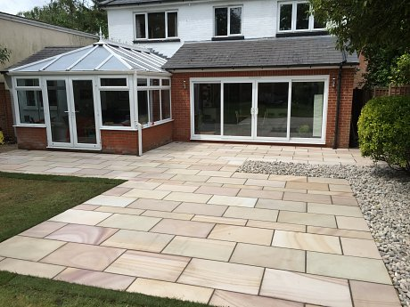 Completed sawn sandstone patio in Chandlers Ford